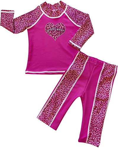 - grUVywear Baby Toddler Girls Rashguard Swimsuit Long Sleeve Sunsuit Set UPF 50 - Pink Panther | 24-36 Months