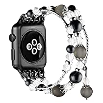 Simpeak Apple Watch Band 38mm, Replacement Fashionable Beaded Elastic Bracelet Pearl Strap for Apple Watch Series 3, Series 2, Series 1