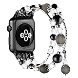 Simpeak Replacement iWatch Band Women Girl Fashion Beaded Elastic Bracelet Band Strap 38mm Apple Watch Series 3, Series 2, Series 1, 38mm/Black