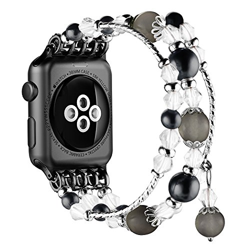Simpeak Replacement iWatch Band Women Girl Fashion Beaded Elastic Bracelet Band Strap for 38mm Apple Watch Series 3, Series 2, Series 1, 38mm/Black by Simpeak