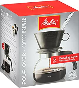 Melitta Coffee Maker, 6 Cup Pour-Over Brewer with Glass Carafe, 1-Count