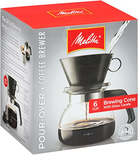 - Melitta (640446) 6-Cup Pour-Over Coffee Brewer w/ Glass Carafe