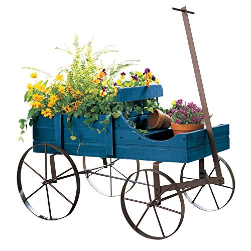 Unfinished Metal Miniature - Amish Wagon Decorative Indoor/Outdoor Garden Backyard Planter, Blue