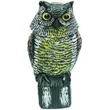 Y&M-Scarecrow Owl Decoy with Rotating Head Anti-Bird Noise Decoration - Pest Repellent Birds, Mice, Squirrels, Rabbits & Other Small Mammals Garden Protector Outdoor Pest Control-Deterrent