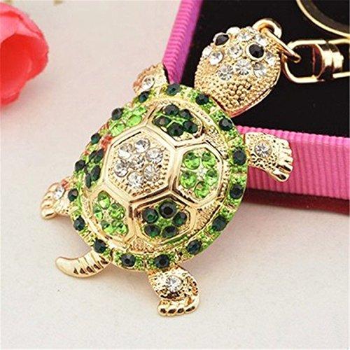 Turtle Keychain Handmade Sparkling Keyring Blingbling Crystal Rhinestones Purse Pendant Handbag Charm (Green)