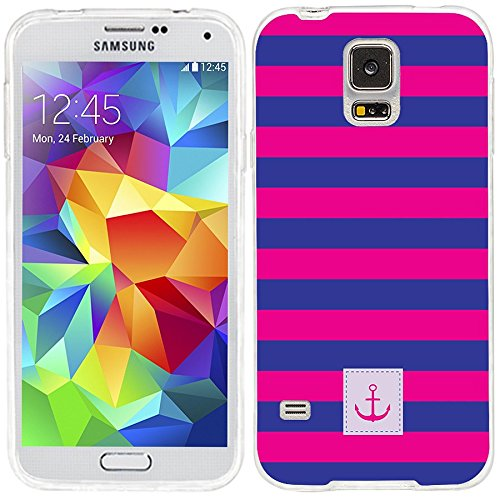 S5 Case,Samsung S5 Case,Galaxy S5 Case,ChiChiC [Cute Series] Full Protective Slim Flexible Durable Soft TPU Cases for Samsung Galaxy S5 I9600, geometric blue navy pink stripe pattern anchor on - Pattern Labels