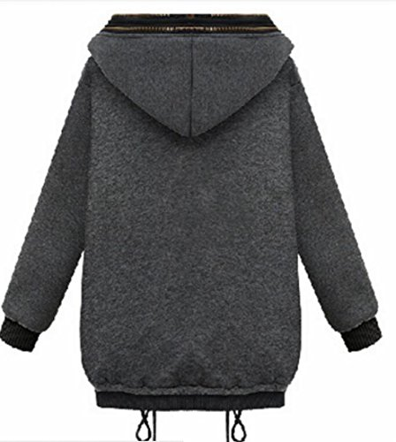 Sweatshirt today Pockets UK Zipper Hoodie Womens Dark Winter Full Thicken Grey SP8wxrBPqF