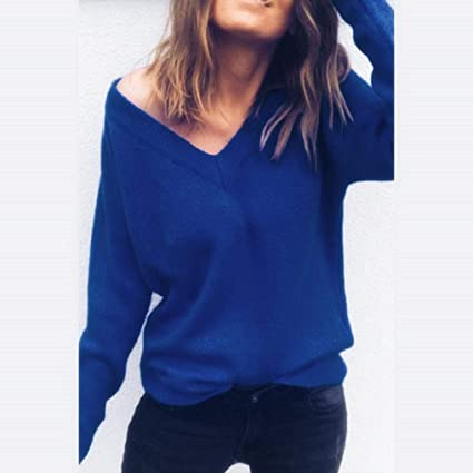 f8ab832e30f Women Long Sleeve Knitted Sweater Tops Daoroka Ladies Sexy Cotton V-Neck  Solid Pullover Casual