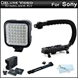 Deluxe LED Video Light + Video Stabilizer Kit For Sony a6000 Digital Camera, HDR-XR160 High-Definition Handycam Camcorder Includes Camcorder Action Stabilizing Handle + Deluxe LED Video Light Kit w/ Support Bracket + 2 Li-Ion Batteries and Charger + More