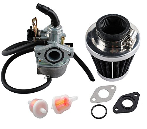 Podoy PZ19 Carburetor ATV Cable Choke Carb Gaskets with 35mm Motorcycle Air Filter Fuel Filters for Chinese Made 50cc 70cc 90cc 100cc 110cc 125cc Dirt Bike Scooter Moped TAOTAO Go karts (2 Stroke Air Filter Motorcycle)