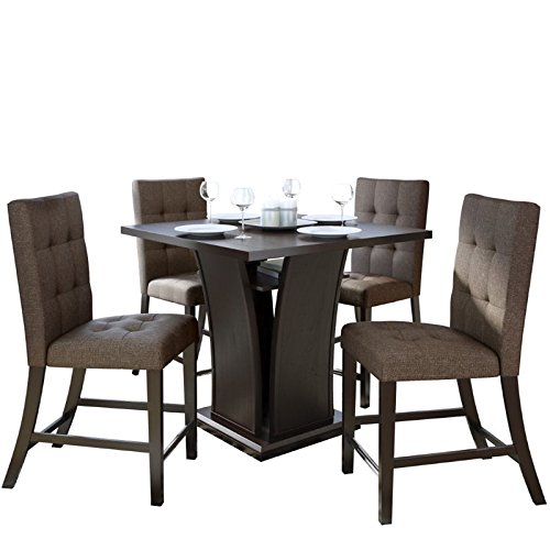 CorLiving 5 Piece Bistro Counter Height Wood Dining Set with Chestnut Bark Woven Padded Chairs