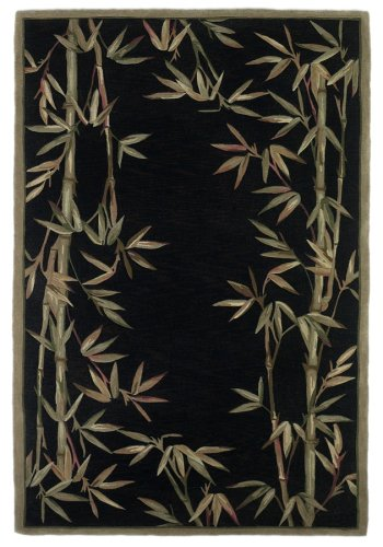 Kas Rugs 3147 Sparta Bamboo Border Runner, 2-Feet 6-Inch by 10-Feet, Black