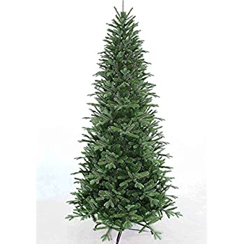 7.5' Slim Fir Quick-Shape Christmas Tree with 600 Clear Lights-UL with Power-Pole System Includes Rotating Stand