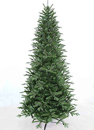 7.5' Slim Fir Quick-Shape Christmas Tree with 600 Multi Color Lights-UL with Power-Pole System Includes Rotating Stand Slim Christmas Trees