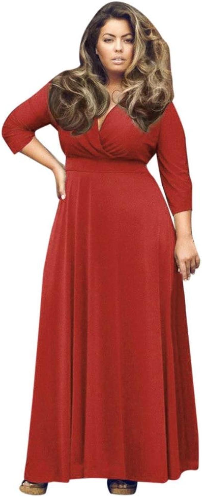 Kolylong® übergröße Kleider Damen Frauen Elegant Tiefer V-Ausschnitt Lang  Kleid Vintage Langarm Maxikleid Groß Größen Kleid Plus Size Cocktailkleid