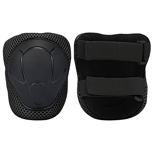 Sports Protective Gear Safety Pad Safeguard (Knee Elbow Wrist) Support Pad Set Equipment for Kids Roller Bicycle BMX Bike Skateboard Protector Guards Pads,(Black) by KUYOU (Image #4)