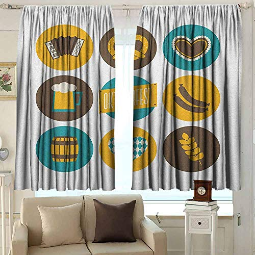 AFGG Window Curtains German Bavarian Oktoberfest Themed Symbols Pretzel Beer and Accordion Room Darkening, Noise Reducing 55 W x 72 L Inches Earth Yellow Teal and Brown ()
