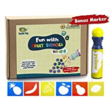 Fruit Stencils + Dab and Dot Marker, Preschool washable fun large cut stencils exploring pear, banana, apple, pineapple, grapes and lemon. by Dab and Dot Markers