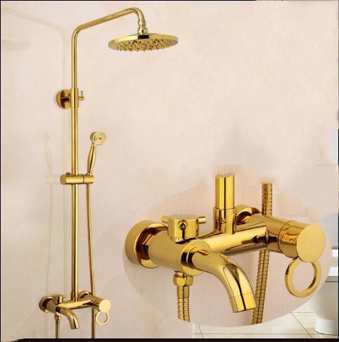 Zxy Home Bathroom ZXY European golden sprinkler suit Antique shower titanium bath cold American gilt shower faucet