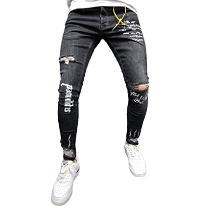 Amazon.com: Men Denim Jeans Slim Fit Ripped Straight ...