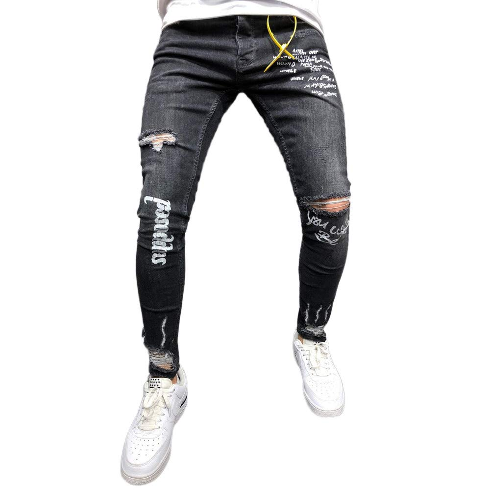 2018 Mens Elastic Letter Ripped Slim Fit Straight Denim ...