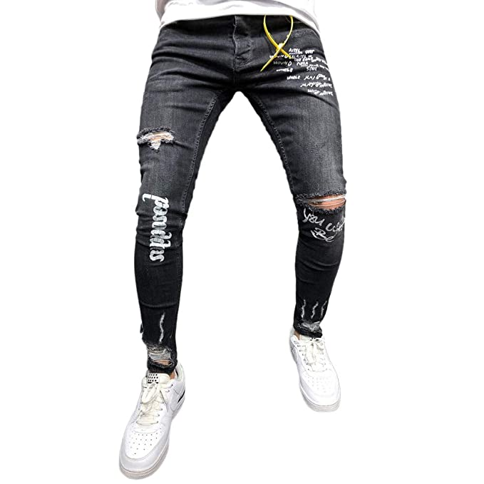 Pantalones Vaqueros Rotos Hombre Jeans Pantalones Vaqueros Elásticos Skinny Slim Fit Delgados,Hombres Nuevo Negro Elástico Pie Agujeros Impresión ...