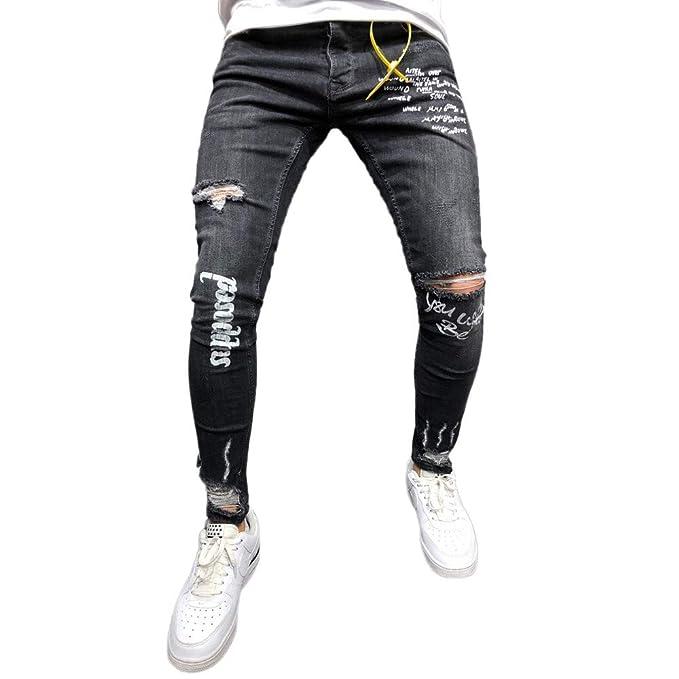 Vaqueros de Moda Hombre 2019 Pantalones Rotos con Estampado de Agujeros elásticos para Hombre Pantalones chandals Hombre Pitillo Amlaiworld