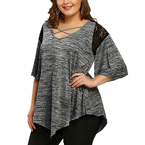 Girdle Line (Tootu Womens Plus Size XL-5XL Flare Sleeve Asymmetrical Tunic Lace Criss-Cross T-Shirt Blouse Top (2XL, Gray))