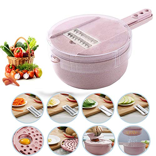 Rubberized White Flowers Design - 9 in 1 Multi-function Easy Food Chopper Slicer Dicer Vegetable Mandoline Chopper Cutter Spiralizer Mandoline Cheese Onion Chopper
