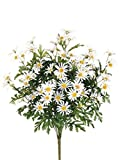 12 Artificial 24'' Farmhouse Daisy Bush White Silk Flower Bouquet Wedding Decor