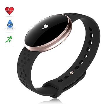Montre Intelligente Femme,Moniteur de fréquence Cardiaque avec écran Couleur, IP68 étanche Réveil Automatique