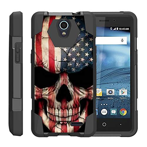 TurtleArmor | Compatible for ZTE Avid Plus Case | ZTE Avid Trio | ZTE ZFive 2 [Dynamic Shell] Hybrid Dual Layer Hard Shell Kickstand Silicone Case - US Flag Skull (Trio Dynamic)