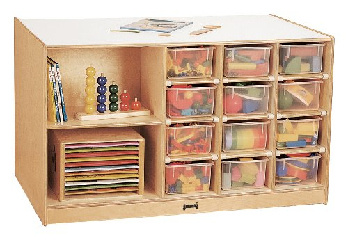 Mobile Storage Island With Colored Trays - School & Play Furniture by CutieBeauty jc
