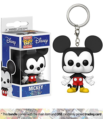 Mickey Mouse: Funko Pocket POP! x Disney Mini-Figural Keychain + 1 Classic Disney Trading Card Bundle (21769)
