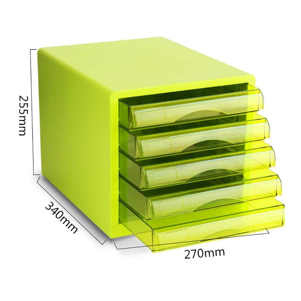 A4 Desktop File Cabinet Data Cabinet Drawer File Storage Cabinet File Box Office Supplies Portable and Tidy Storage Box-Plastic (Color : 9777-5-green)