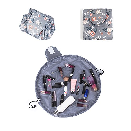 Lazy Portable Makeup Bag Large Capacity Waterproof Drawstring Cosmetic Bag Travel Makeup Pouch Magic Toiletry Bag Storage Organizer for Women and Girl (Light Gray)