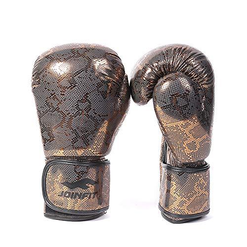 (Electric Magic 10oz Pro Grade Python Style Gold Boxing Gloves Kickboxing Bagwork Gel Sparring Training Gloves Punching Bag Mitts Men & Women)