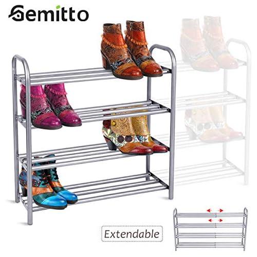 chollos oferta descuentos barato GEMITTO Zapatero de Extensible 4 Niveles Zapatero de Acero Apilable y Extensible Shoe Rack de Metal 60 106cm x 22 5cm x 61 5cm Plata