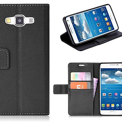 Galaxy A9 Funda,Aomo Samsung A9 Case Cubierta del caso con cuero [estilo del libro][ranuras para tarjetas][Caso del tirón] de la caja del teléfono de la PU de cuero protectora para Samsung A9-Azul Negro