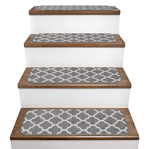 House, Home and More Set of 15 Skid-Resistant Carpet Stair Treads - Moroccan Trellis Lattice - Misty Gray & Linen White - 9 Inches X 36 Inches (Gray Trellis Carpet)