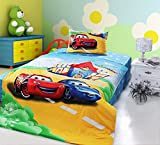 CASA Children 100% Cotton Lightning McQueen and Sally Carrera Duvet cover & Pillow cases & Flat sheet,3 Pieces,Twin Extra-Long