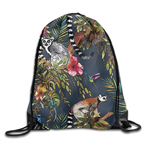 Sport Gym Rucksack Drawstring Backpack Bag By Anticso, Tropical Jungle Lemur Catta Hummingbird 3D Print Drawstring Shoulder Bags Gym Bag ()