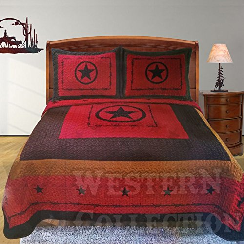 Western Peak 3 Piece Western Texas Lone Star Cabin Lodge Barbed Wire Luxury Quilt Bedspread Coverlet Comforter Maroon Brown Set (King) -