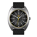 Roue HDS One Watch, 1980s German Industrial Design Style, 41.5mm Sand Blasted Stainless Steel case, Silicone + Nylon Front/Leather Back Straps, Sapphire Crystal with Anti-Reflective Treatment Glass