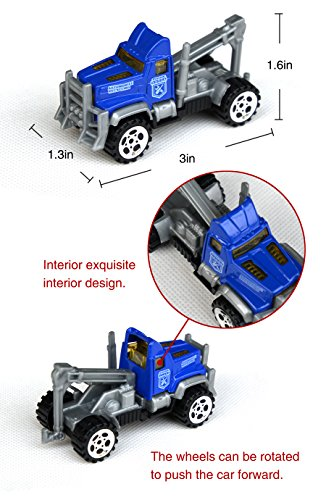 Tianmei 6 Cars in 1 Set Police styling 1:64 Alloy Diecast Vehicle Models Collection Kids Toy Police Jeep Truck Ambulance Ladder Transporter Car TN 6Pieces - Police
