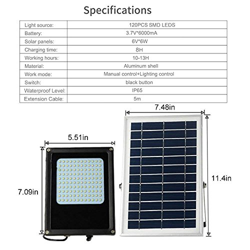 Solar Flood Light Outdoor,HJLFA Dusk to Dawn 120 LEDs 6W IP65 Waterproof Solar Powered Security Flood Light for Flag Pole,Business Sign,Garden,Yard,Driveway,Farm,Shed,Auto-on Off