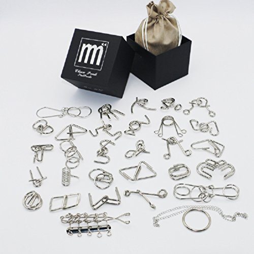 Brain Teaser Metal Wire Puzzle 28pcs in Gift Box, Gift Idea for Birthday ()