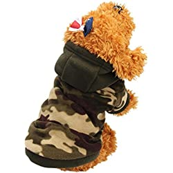 Mikey Store Dog Pet Clothes Hoodie Warm Sweater Puppy Coat Apparel (Camouflage, L)