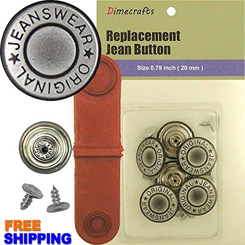 y Silver No-sew Jean Tack Buttons 6 w/Tool ()