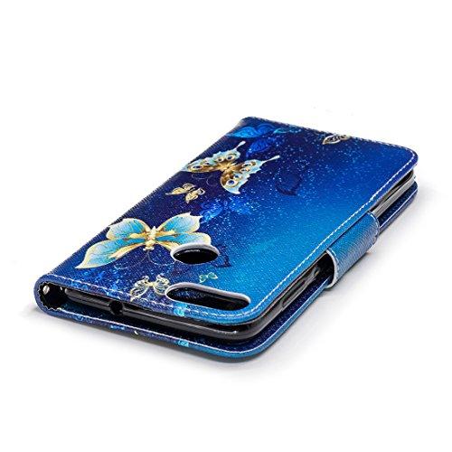 de pour cuir en P avec peint Flip cas conception avec 7S fente carte Butterfly en aérosol Enjoy smart protection PU étui magnétique portefeuille d'impression Huawei Hozor dance fermeture support qSO6xA